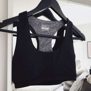 Grey and black sports crop