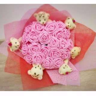 Cute Six Teddies Bear Plushie Pink Roses Red Bouquet Flower for Gifts Valentines Day Gifts ( 6 Teddy Bear )