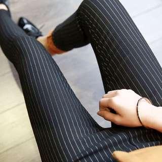 🚚 條紋保暖顯瘦加绒加厚長褲緊身黑色高腰鉛筆褲