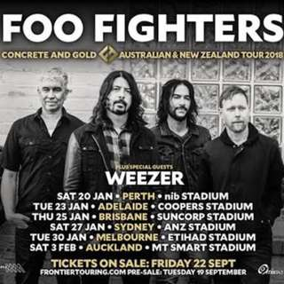 2 x Tickets - Foo Fighters in Melbourne General Admission