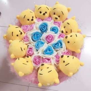 Winnie the Pooh Plushie Rose Bouquet Flower for Gifts Valentines Day Gifts (10 set of Winnie the Pooh plushie)