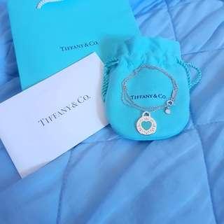 Tiffany&Co. 粉藍愛心圓牌純銀項鍊  真品