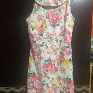 Flowery White Dress
