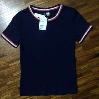 H&M BRAND NEW WITH TAGS NAVY BLUE RINGER TEE