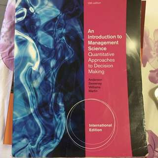 An Introduction To Management Science DA textbook SMU