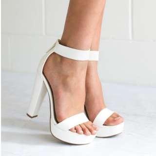 White Lipstik Heels Size 9