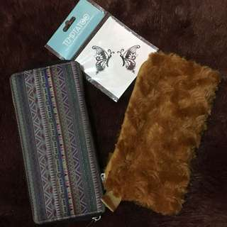 Dompet tribal + pouch bulu (free temp tatto)