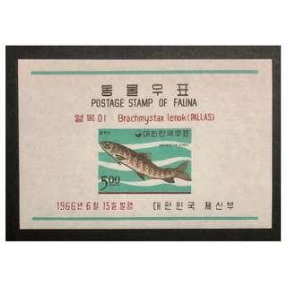 早期韓國魚類紀念郵票。全新 9cm x 6cm