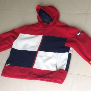 Vintage Tommy Hilfiger red fleece zip up hoody