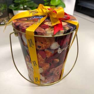 Famous Amos Metal Bucket Cookie Container