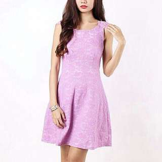 【MGP Label】Intricate Lace Overlay Flare Dress in Purple