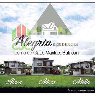 House and Lot for Sale - ALEGRIA RESIDENCES (Loma de Gato, Marilao, Bulacan)