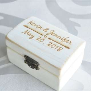 Personalised Wedding Ring box - rustic chest