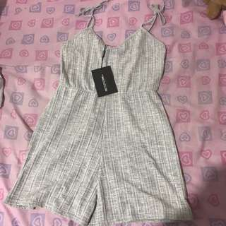 Grey ribbed Playsuit