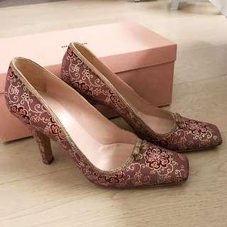 Vintage Prada Silk and Snakeskin trim high heel shoes