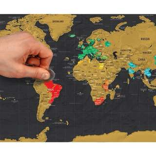 World Map in Gold & Black [Scratch Off] #Contiki2018