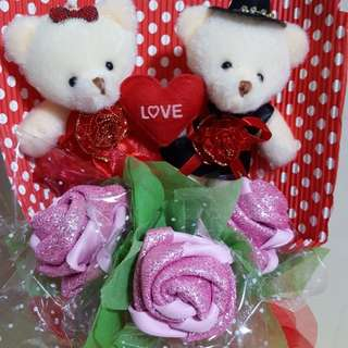 Valentine's Day Couple Bear with Handmade Rose
