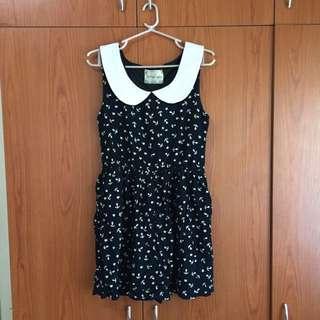 Spirited Away navy blue peter pan collared mini-dress