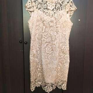 Cream Lace Cheongsam Collar Dress