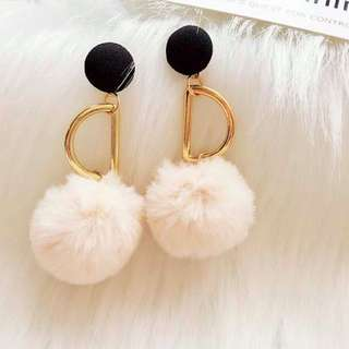 Hollow metal pom pom earrings