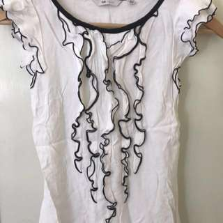 Cue white ruffle top size 6