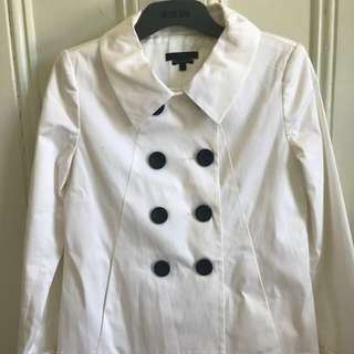 Cue white double breasted trench coat size 6