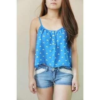 Blue Summer Loose Top