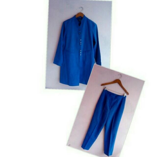 1 Set Blazer Blue + Celana
