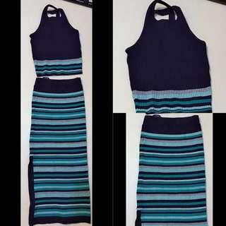 全新@兩件式條紋洋裝