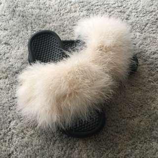 Champagne Fur Nike Slides