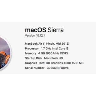 Macook Air 11 inch 2012