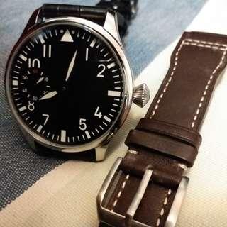 全新 Pilot Watch 飛行員 飛機師 手上鍊自動機械錶 44mm 透明底