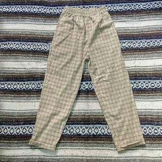 古著 vintage | 米色 橘黑 清爽 格紋 寬鬆 長褲