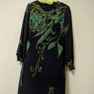 Baju Kurung Moden (Leher Biru) NEW