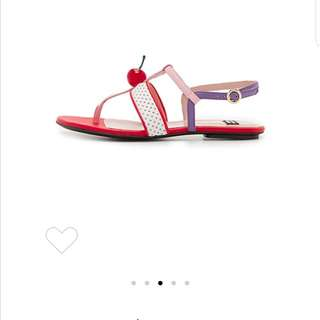 auth boutique moschino cherry topped multicolor sandals