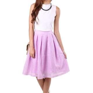 【MGP Label】Gingham Mesh Midi Skirt in Lavender