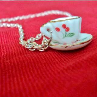 Teacup Charm Necklace Tiny Tea Cup and Saucer With Silver Chain Cherry Print