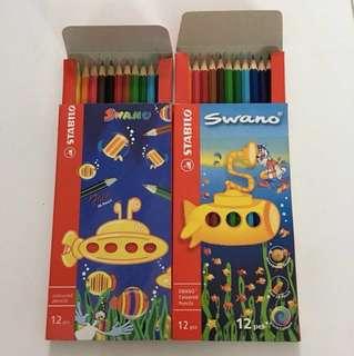 2 boxes of coloured pencils (12 pencils per box) + 2 x 12 small crayons