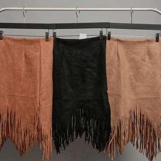 Fringe skirt / rok / coklat