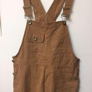 土土色 吊帶褲 vintage