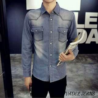 Vadel Jeans Rp98.000 Kemeja Pria Bahan JEANS WASH ORI