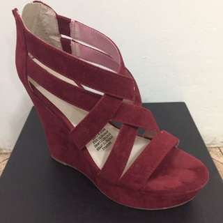 Burgundy Suede Wedges