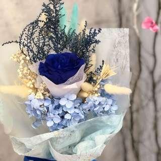 Preserved blue rose