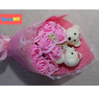 Scented Soap Roses Bouquet Flowers w/Bag - Gift Set