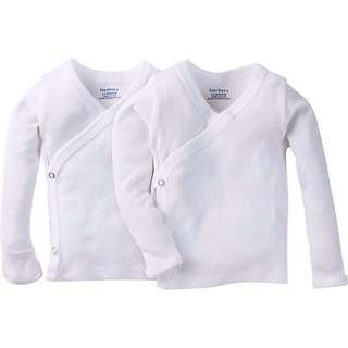 Gerber Unisex Long-Sleeve Shirts with Side Snap and Mitten Cuffs