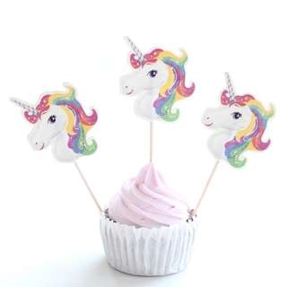 Rainbow Unicorn Cupcake Toppers