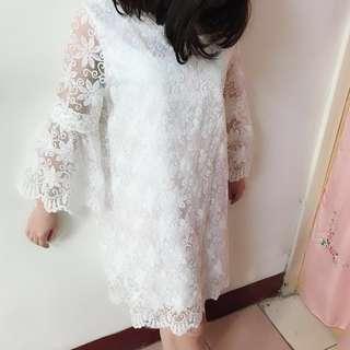 洋裝-蕾絲全白尾牙婚禮穿搭