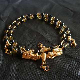 Nice Quality Yellow crystal Beads with 2 Gold Plated Dragon Head 4 Hooks Necklace