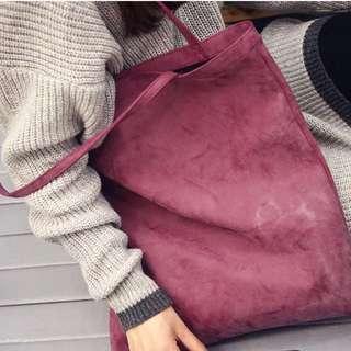 Nubuck Leather Shopper in Pink
