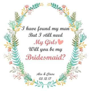 Be my Bridesmaid ~ Drawstring Pouch 👰🏻💍🎀